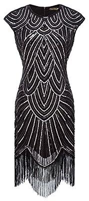 Izacu Flocc® Women 1920s Gatsby Embroidery Art Deco Dress