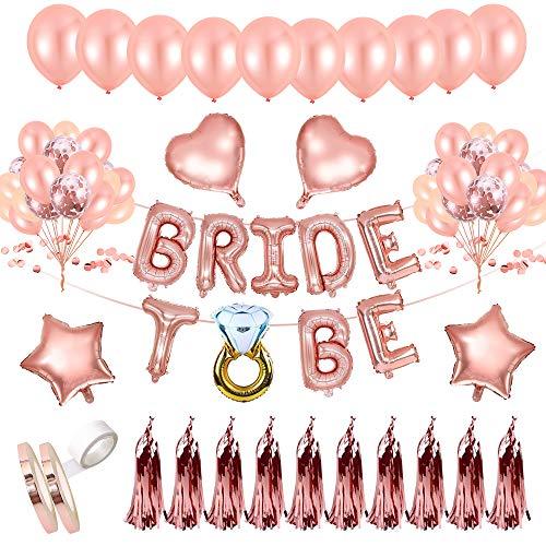 AivaToba JGA Deko Luftballons Set mit Latex Ballons in Roségold, konfetti Luftballons, Bride to Be Folienballon Girlande Deko für Tochter Mädchen Abschied Verlobung Party,Junggesellinnenabschied Deko