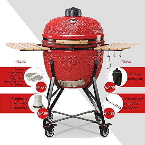 Kamado BONO - Grill-Räucherofen-Kombination in rot, Größe Grande Limited