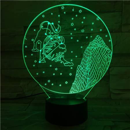Escritorio de signos del zodiaco occidental Sensor de cambio de color ns Regalo de bebé para niños Leo Lion Night Light LED