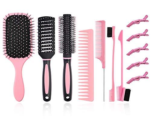 Juego de 12brochas para el cabello, cepillo para desenredar con cepillo de nailon, cepillo de pelo redondo/peine rectangular con 2cepillos de doble cara+5clips dar forma a rizos húmedos y seco