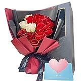 ソープフラワー プレゼント 造花 誕生日 母の日 女性 ギフト バレンタインデー Paraink レッドバラブーケ 枯れない花 石鹸花 記念日 開店祝い 結婚祝い お見舞い 敬老の日 ボックス ピンクバラ メッセージカード付き