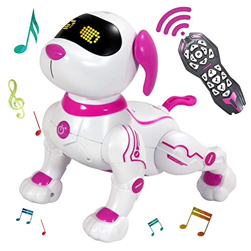 Contixo R3 Robot Dog, Walking Pet Robot Toy, App Controlled Robots for Kids, Remote Control, Interactive Dance, Voice Commands, Bluetooth, Motion Sensor, RC Toy Dog for Boys and Girls (Pink)