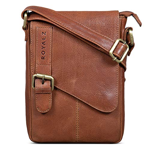 ROYALZ Bolso Bandolera Pequeño para Hombre Bolsa de Piel Auténtica Vintage Mensajero de Cuero, Color:Texas marrón