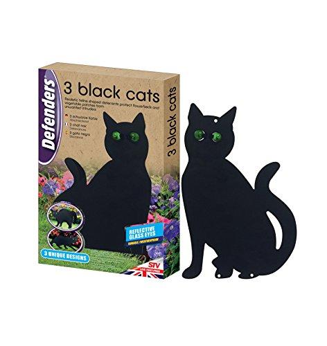 Defenders Three Black Cats Decorative Deterrents, Cat Garden Repeller, Black