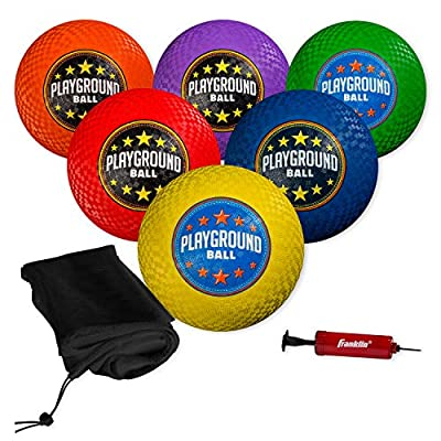 """Franklin Sports Playground Balls - Rubber Kickballs and Playground Balls For Kids - Great for Dodgeball, Kickball, and Schoolyard Games – 8.5"""" Diameter, Multicolor Pack of 6 by Franklin Sports, Inc."""