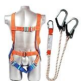 Kit Harnais de Protection,Harnais antichute 5 Points de sécurité Protection complète,Absorbant Les Chocs Lanyard