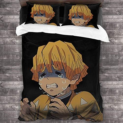 Anime Demon - Juego de ropa de cama de microfibra suave Home Decor (Q03,135 x 200 cm + 50 x 75 cm x 2)