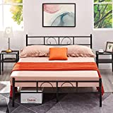 Coavas Double Bed Metal Frame, 4ft6 Double Bed with Two Beard Headboards, Sturdy Bed Frame Bedstead Base for Adults Kids Teenagers Black (140x198cm)