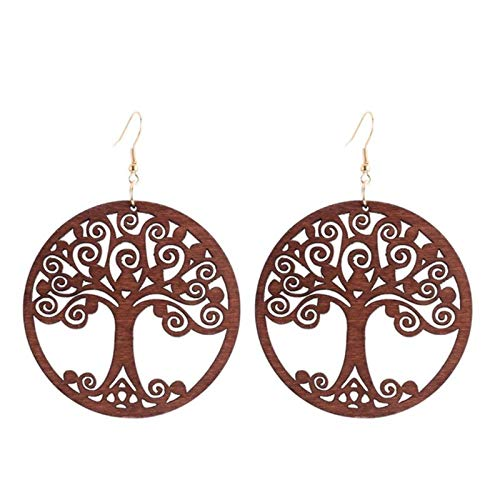 SALAN Ethnic Black Red Pendant Earrings For Women Round Brown Hollow Life Tree Statement Earrings Big Hanging Jewelry For Party