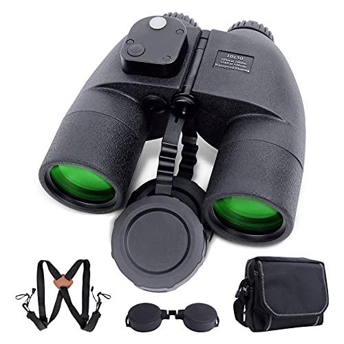 10 x 50 Prismáticos marinos para adultos – Prismáticos impermeables con brújula y telémetro – Prisma BAK4 FMC lente prismáticos para navegación, caza, observación de aves