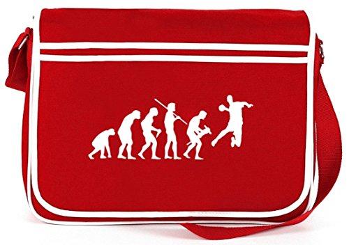 Shirtstreet24, EVOLUTION HANDBALL, EM/WM Retro Messenger Bag Kuriertasche Umhängetasche, Größe: onesize,Rot