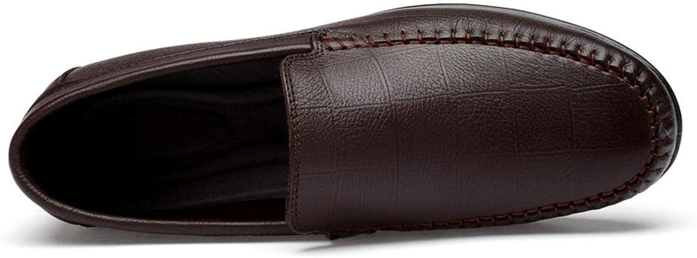 Business Formal Oxfords for Men Penny Loafer Slip on Genuine Leather Antislip Boat shoes (color   Hollow Brown, Size   9 D(M) US)