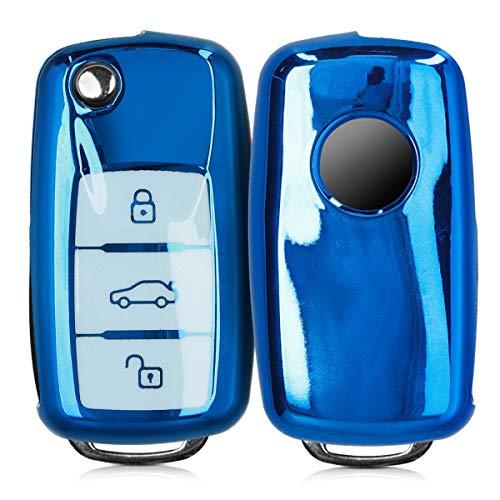 kwmobile Autoschlüssel Hülle kompatibel mit VW Skoda Seat 3-Tasten Autoschlüssel - TPU Schutzhülle Schlüsselhülle Cover in Hochglanz Blau Weiß