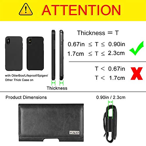 J&D Holster Compatible for LG V20 Holster with Belt Clip, PU Leather Holster Pouch and ID Wallet Case for LG V20 Case (Only Fits with Bulky Case On) - Black