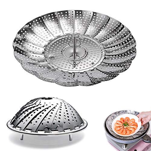 LTHERMELK Cestello per Cottura A Vapore con Manico Telescopico Cestello per Cuocere Verdure A Vapore in Acciaio Inox per Frutta Frutti di Mare