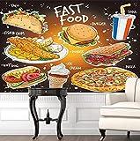 Papel pintado de comida rápida popular dibujado a mano 3D Fish and Chips Burger Doner Kebab Pizza Helado y una bebida de soda Papel de pared 3D-300 * 210cm
