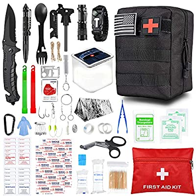 SUPOLOGY Survival Kit, 100 in 1 Emergency Survival Gear Tools First Aid Kit, Camping Gear with Solar Camping Lantern and Shelter for Hunting Adventures Tactical Hiking Disaster, Best Gift for Men Dad