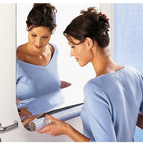1 Stk Spiegelfolie Wandaufkleber Selbstklebende Spiegel Folie - Spiegel Wandaufkleber Rechteck selbstklebende Raum Dekor Stick auf Kunst (50 * 100cm, A)