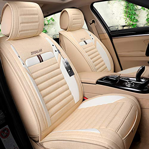 INCH EMPIRE Car Seat Cover Breathable Sweat Proof Cloth Fabric Cushion Front and Rear Full Set Universal Fit for Most of Sedan SUV Truck Hatchback Durable Use for All Year(Beige with White Side Bars)