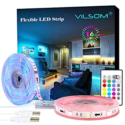 LED Strip Lights, ViLSOM 19.7ft USB LED Lights with Remote, RGB 5050 Color Changing Rope Lights for 40-100in TV Backlight, Bed Room, Party, DIY Home Decoration