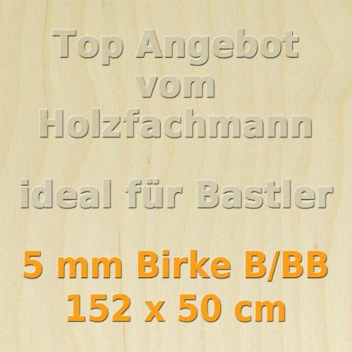 PiHaMi® 5mm Birke Sperrholzplatte Qualität B/BB (152 x 50cm) GP 22,49 €/m²