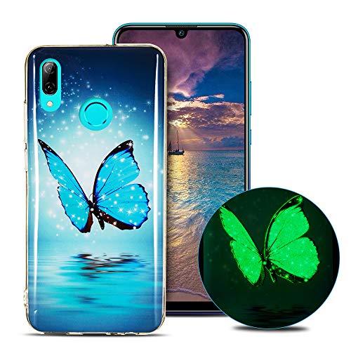 CaseLover Cover Huawei P Smart 2019, Nottilucenti Luminoso TPU Silicone Custodia per Huawei P Smart 2019 / Honor 10 Lite Morbida Sottile Fluorescente Flessibile Protettiva Copertura Case - Farfalla