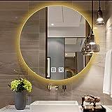 Espejo de baño con luces LED, moderno espejo de maquillaje montado en la pared, 50-80 cm, redondo, sin marco, retroiluminado, espejo de baño, espejo de tocador regulable inteligente, antivaho