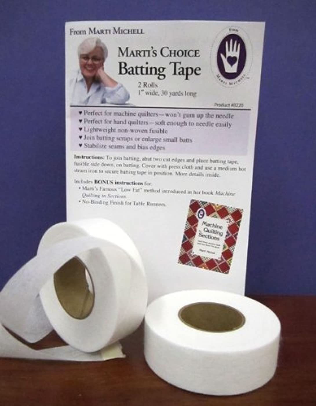 Marti Michell - Marti's Choice Non-Woven Fusible Batting Tape - 1 inch wide by 30 yards long - Two Rolls Per Package