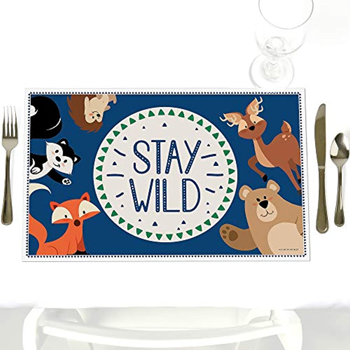 Stay Wild - Forest Animals - Party Table Decorations - Woodland Baby Shower or Birthday Party Placemats - Set of 12