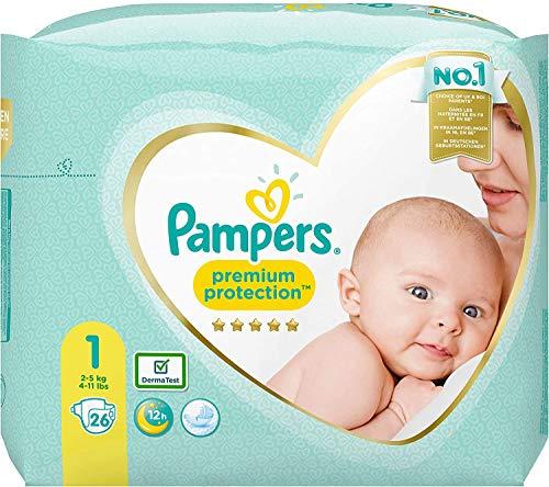 Pampers Premium Protection New Baby Windeln, Größe 1, 2-5 kg, 4er Pack (4x 26 Stück)