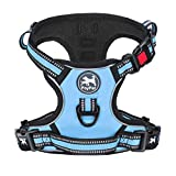 PoyPet No Pull Dog Harness, [Release on Neck] Reflective Adjustable No Choke Pet Vest with Front & Back 2 Leash Attachments, Soft Control Training Handle for Small Medium Large Dogs(Light Blue,S)