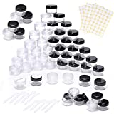 WUERQIE 100 Pezzi Contenitori Cosmetici set di Barattoli di Plastica Trasparente,5ml/5g per la Conservazione dei Campioni, Viaggi, Polvere, Pillole, Maschera(Nero e Trasparente)