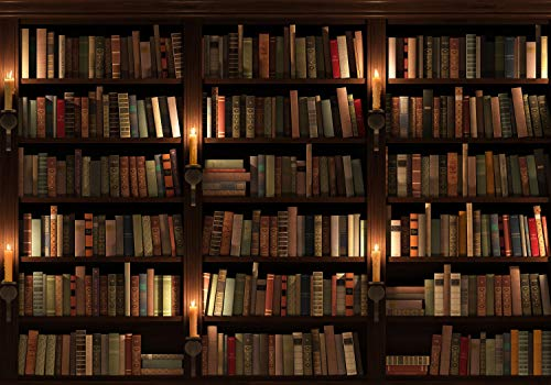 decomonkey Fototapete Buch Regal 350x256 cm Tapete Fototapeten Vlies Tapeten Vliestapete Wandtapete moderne Wand Schlafzimmer Wohnzimmer Holz Vintage Retro