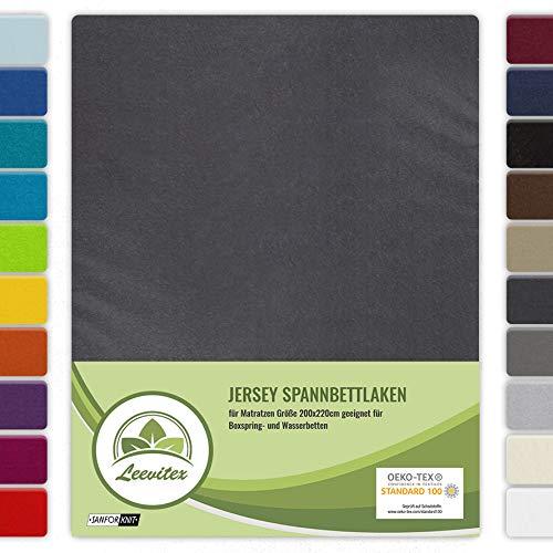 leevitex® Farbenfrohes Spannbettlaken für WASSERBETTEN & BOXSPRINGBETT Spannbetttuch Jersey 200 x 220cm, 40cm Steghöhe 100% Baumwolle ca. 160 g/m² (Anthrazit/Grau)