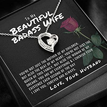 To My Beautiful Badass Wife Necklace To My Wife Heart Necklace Gift For Wife Anniversary Necklace Valentine Necklace For Wife Birthday