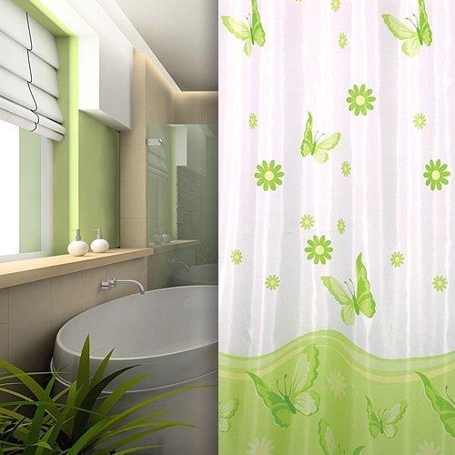 KS Handel 24 Textil DUSCHVORHANG Weiss GRÜN Schmetterlinge 240x200 INKL. QUALITÄTSRINGE! 240 x 200 cm