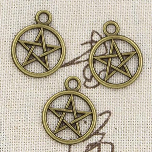 FGHHT 12 Piezas encantos Estrella Pentagrama 24x20mm Colgante de fabricación Antigua,ColorBronce Tibetano Vintage, Hecho a Mano DIY