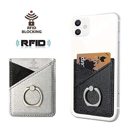 takyu 2er Smartphone Kartenhalterung, PU Leder Haftende Handy Kartenhalter RFID Schutz Smart Wallet Kartenhülle Kartenetui Kartenfach(Schwarz-Silber)