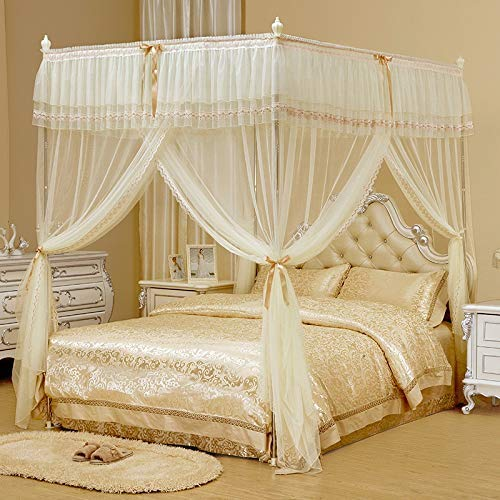 Cosel de cama Doble cifrado de encriptación Inicio Mantenga el mosquitero de piso caliente para la red de la cama de cama individual a tamaño king con el soporte (amarillo) (Tamaño: 200 veces; 220 vec