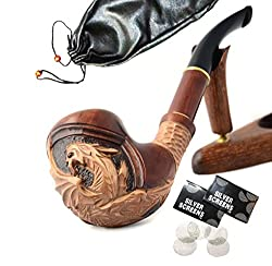 unique wooden pipes ~ Dragon Hand Carved Tobacco Smoking Pipe Pouch