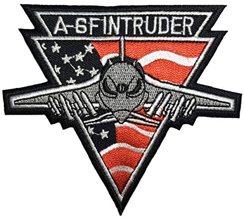 Papapatch A-6 F Intruder Navy Fighter Sew Iron on Embroidered Applique Badge Sign Patch - Black (IRON-A6F-INTRUDER-BLACK)