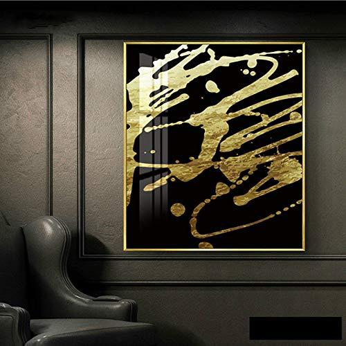 Goldene geometrische Wandkunst Leinwand Malerei moderne Home Poster und Drucke Dekorieren Bilder Wohnzimmer 50x70cm