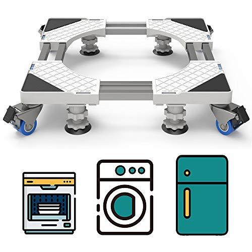 DEWEL Supporto Lavatrice Doppio Tubo con Ruote Piedini Regolabili ed i Freni Base Lavatrice Antivibrazione con per Frigorifero e Asciugatrice (54-69cm)