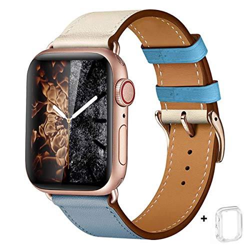 WFEAGL コンパチブル Apple Watch バンド,は本革レザーを使い、iWatch SE、 Series 6/5/4/3/2/1、Sport、Edition向けのバンド交換ストラップです コンパチブル アップルウォッチ バンド (38mm 40mm, 薄い青/象牙の白+ゴールド 四角い バックル)