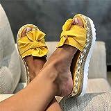 LQLD Sandalias de moda para mujer, de tamaño grande, con pajarita, para playa, parte inferior gruesa, cuerda de cáñamo, para caminar al aire libre, playa, amarillo, 37