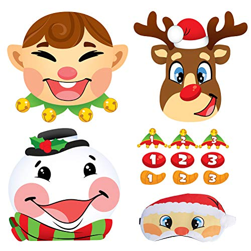 JOYIN 3 Christmas Pin the Tail Games for Christmas Party, Pin the Hat on Elf, Pin the Nose on Reindeer, Pin the Carrot on Snowman Game Pack with Christmas Blindfold. Christmas Party Game and Accessory
