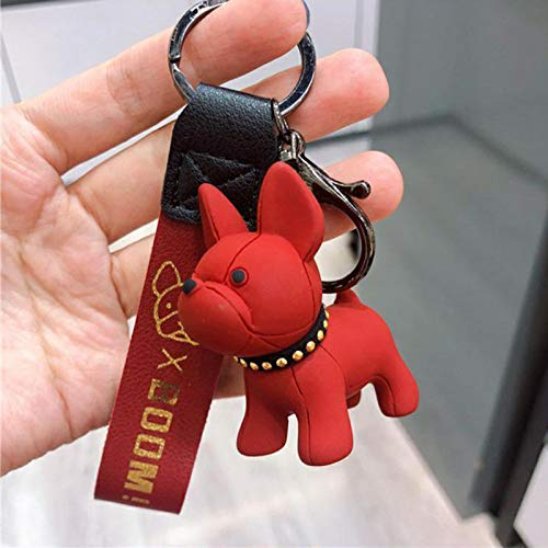 Jianjia French Bulldog Keychain Fashion Punk Pu Leather Strap Dog Keychain Female Bag Pendant Jewelry Car Key