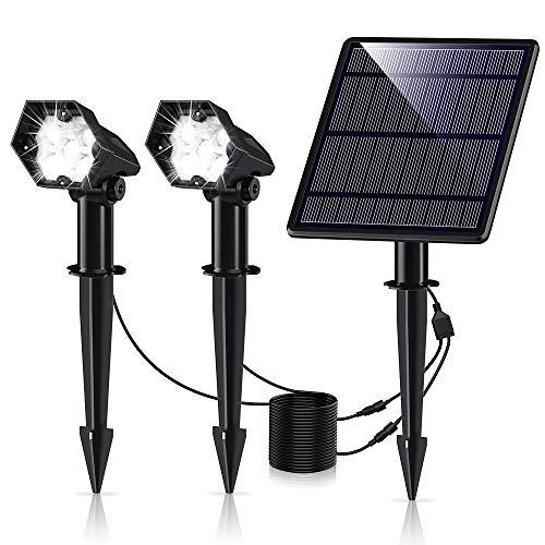 Leolee Solar Gartenleuchte, 2 Stück 300LM Solarstrahler LED Solarlampen für Außen mit Ultrahelle 3 Helligkeitsstufe IP66 Wasserdicht Wegeleuchte Wand 6000K Solarleuchte für Bäume, Sträucher, Gartenweg