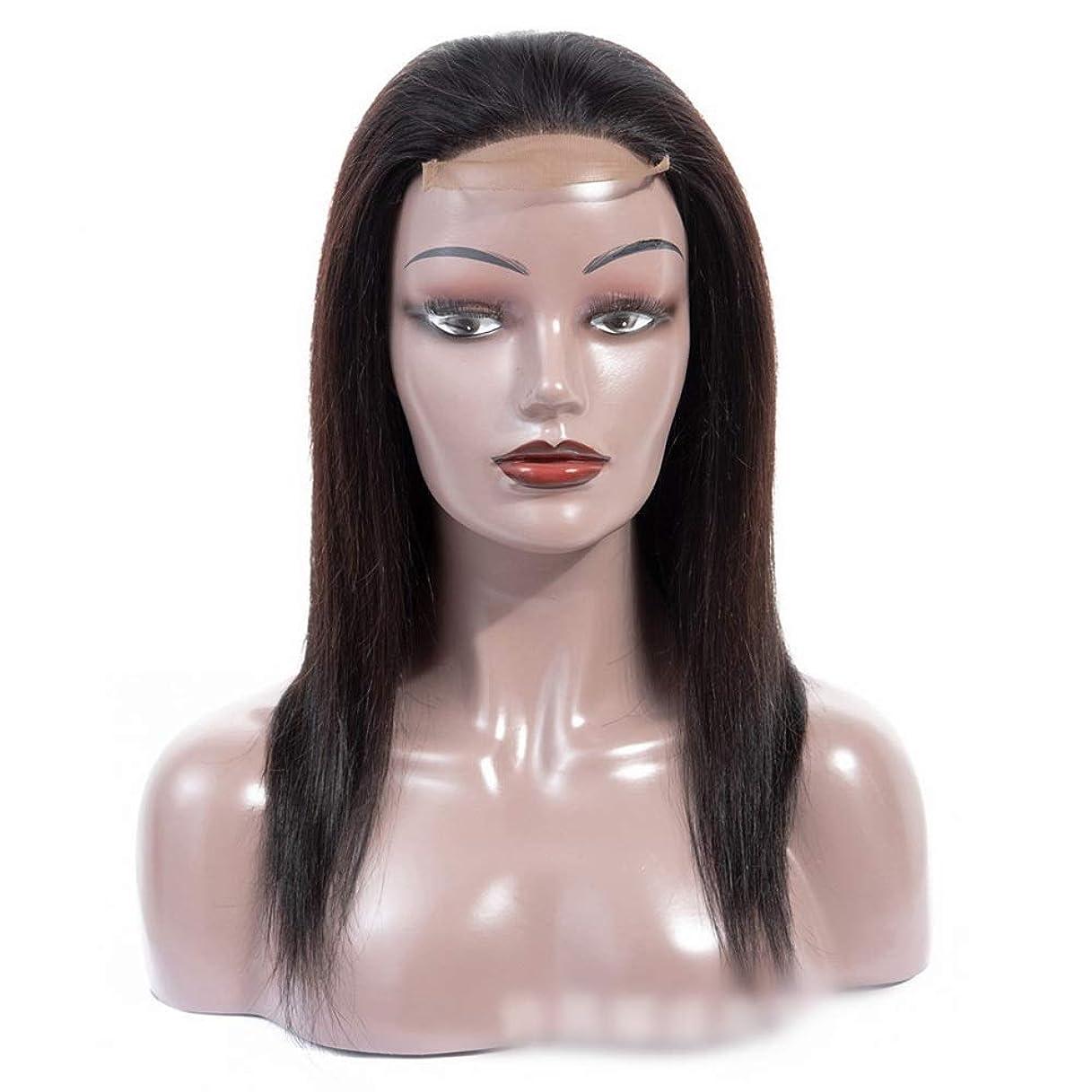 原点切り離す開発BOBIDYEE 12インチレース前頭100%リアルヘアエクステンション無料パート4×4シルキーストレート人間の髪の毛のレース閉鎖かつらパーティーウィッグ (色 : 黒, サイズ : 12 inch)